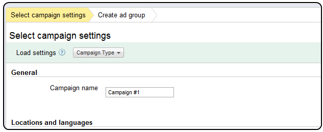 Adwords campaigns set up example
