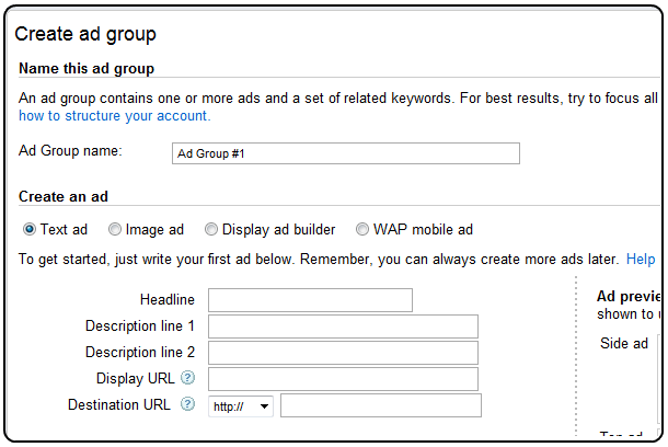 Adwords adgroups set up example